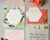 spring wedding invitations, beautiful Southern floral honey bee blush wedding invitation suite featured on Style Me Pretty Blog