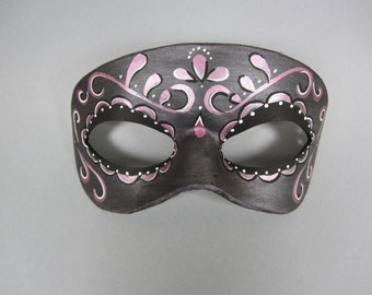 Day of the Dead Pink Accented Swirl Leather Mask, Unisex