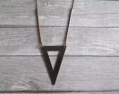 Rhodes - Simple Flat Triangle Geometric Necklace in Dark Brass