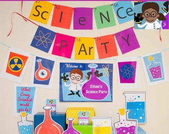 Science Party Decorations & Props Printable Kit - INSTANT DOWNLOAD - Girl Brown Hair and Dark Skin