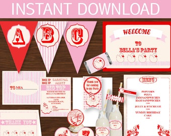 Carnival Party - Pink Printable Package - Instant Download