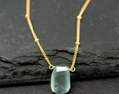 Raw Aquamarine Necklace - Gold Satellite Chain - Rough Gemstone Crystal Nugget Boho Style Layering Jewelry - March Birthstone Pendant