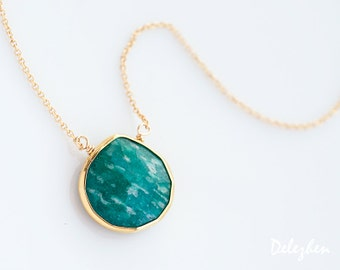 Green Amazonite Necklace - 14k Gold Filled Chain - bezel set necklace - gemstone necklace - Gold necklace -