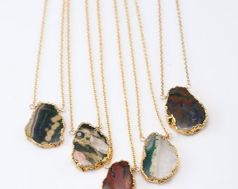 Ocean Jasper Gem Slice Necklace -  Layered Necklaces - Electropformed Slice - Gold Necklace - Layering Jewelry - Boho Jewelry - Framed Stone