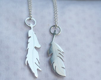 feather pendant silver feather necklace handmade feather necklace tiny feathers tropical jewelry