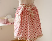 Retro Style Apron Half apron Adult size Ruffle shabby chic Apron Red hearts Cherry blossom europeanstreetteam