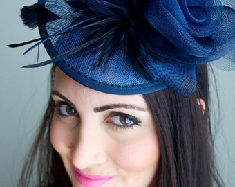 "Navy Blue Fascinator - ""Kate"" Mesh Couture English Hat Fascinator Headband"
