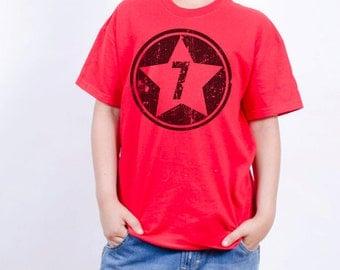 7th Birthday Shirt - Super Cool Superhero Birthday T-Shirt - Superhero Theme Party - Choose your number - Personalized Birthday Shirts