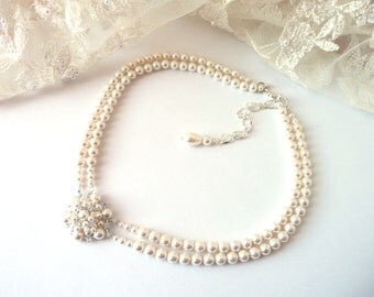 Pearl Choker Necklace, Wedding Necklace, IVORY or WHITE Pearl Statement Necklace, Bridal Necklace Pearl, Wedding Jewelry, Bridal Jewelry