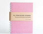 All Year Round Timeless Journal / Planner (Self-filled dates, fabric wrapped) - Pink Polkadots