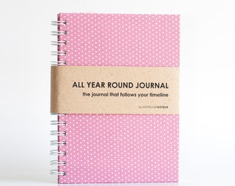 Weekly Planner A5 Size (Undated) All Year Round Timeless Journal - Pink Polkadots