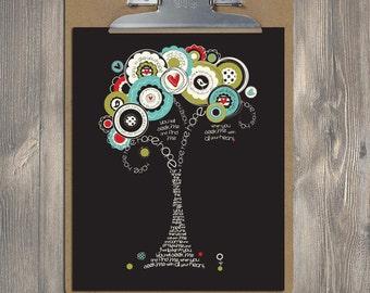 Christian Gift, Scripture Art, Jeremiah 29:11 HOPE Bible verse tree, Christian art print