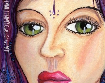 Gypsy Eyes- Mixed Media Portrait Art- A4 Archival Quality Art Print