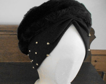 Mid-Century Chic Hat, Headwear, Charcoal Brown Knit Fitted, Faux Fur Crown, Gold Studded Headband