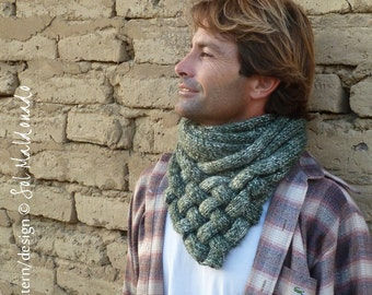 Cowl Pattern Knit Weave - Unisex winter or summer neck accessory knitting pattern - Instant Download