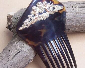 Art Nouveau Hair Comb Vintage Victorian Metal Overlay Hair Accessory Hair Slide Hair Pin Hair Pick Hair Jewelry Hair Accessory Headdress