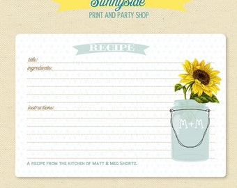 SUNFLOWER Mason Jar Recipe Card -  Personalized Recipe Cards / Printable - 3x5 or 4x6