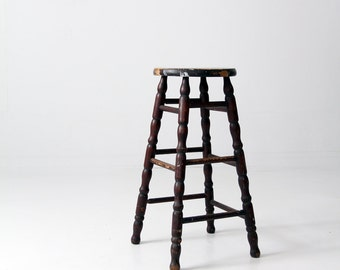 antique spindle stool, tall wood stool, turned leg stool