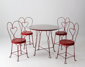 vintage ice cream parlor table set with 4 chairs