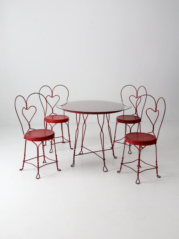 Vintage Ice Cream Parlor Table Set With 4 Chairs Red Outdoor