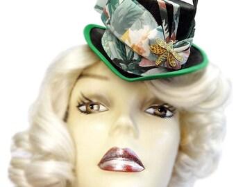 Green Mini Top Hat Fascinator Garden's Treasure Victorian Steampunk Cocktail Tea Party Cosplay