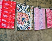 Vintage Indian Block Print Stationery Set - EIGHT CARD Set  - Cards Envelopes Stickers - Gift Tags - Hostess Gift - Place Card