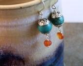 Tibetan turquoise and silver bead earrings with carnelian