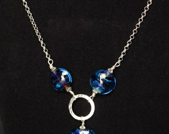 Beautiful Blue Irridecent Silver Glass Blue Lampworking Sterling Bead Sterling Necklace