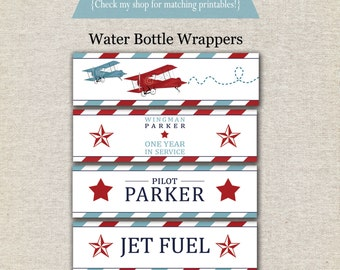 Airplane Water Bottle Labels - red and blue | Airplane Water Bottle Wrappers | Airplane Drink Labels | Airplane Party Printables