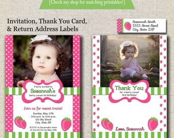 Strawberry Shortcake inspired Birthday Invitation, Thank You Card, Return Address Label set, pink and green, printable, digital
