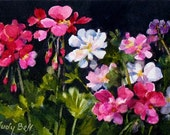 Geraniums - Watercolor Painting -  Pink And White - Original Art