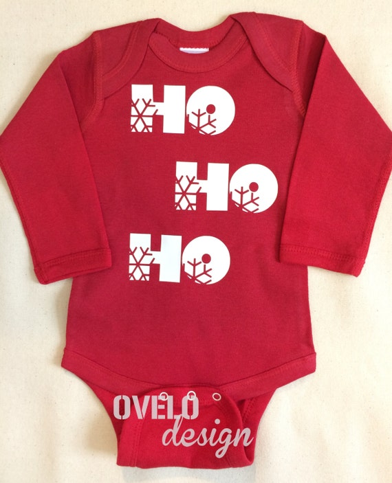 HO HO HO Baby Bodysuit Long Sleeve in Red