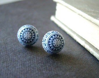 Ethnic Posts , nordic inspired  stud earrings with  royal blue lucite cabochons and sterling silver posts , two sizes available