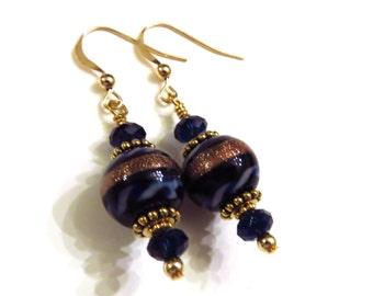 Dark Blue & Gold Earrings, Swarovski Crystals, Dark Blue Earrings, Blue Crystal Earrings, Blue Dangle Earrings, Gold Filled, Blue Earrings