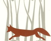 Red Fox - Linocut Print - Autumn Woodland Animals,Printmaking UK - Wood Fox Original Lino Block Print -Modern Art,Signed Giuliana Lazzerini.