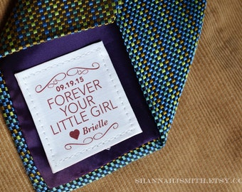 Father of the Bride Gift • Personalized Tie Patch • Suit Label • Dad Birthday Gift • Forever Your Little Girl