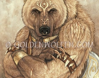 Warrior Bear with Attitude Print