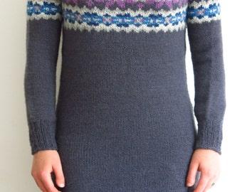 PATTERN Fairisle Sweater Dress Knitting Pattern PDF / Knitted Dress Pattern / Jumper Dress Knitting Pattern / Color Knitting Pattern