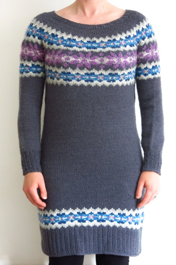 Knitting In The Round Sweater Patterns : Pattern fairisle sweater dress knitting pdf knitted
