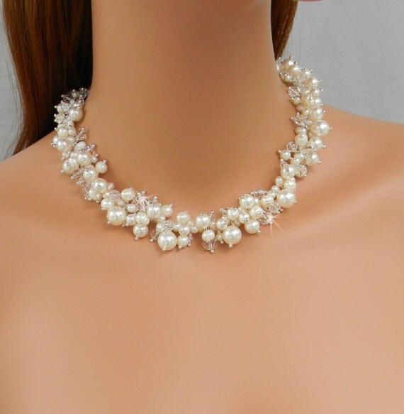 Bridal Necklace, Pearl wedding necklace, Pearl Bridal Jewelry, freshwater pearls, chunky, swarovski crystals, GraceLynn necklace