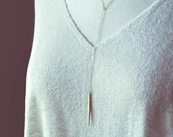 boho gold spike lariat necklace.