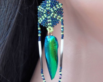 Porcupine Quill & Beetle Wing Earrings - Beaded Earrings - Round Lightweight Seed Bead Earrings - Dark Blue and Lime Green