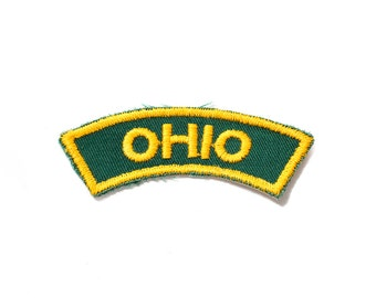 Vintage Ohio Patch | Unused Sew On Applique Jacket Jeans Shorts Sweater Backpack | Yellow and Green Text | OSU OU USA America State Mid West