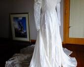 Victorian satin vintage wedding dress 1970s steampunk traditional alternative wedding dress