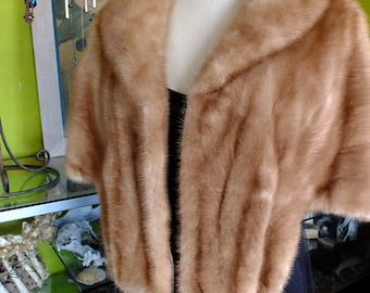 Wedding mink stole fawn color