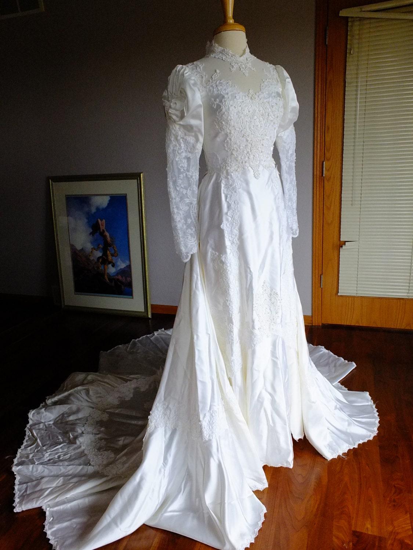 Victorian satin vintage wedding dress 1970s steampunk