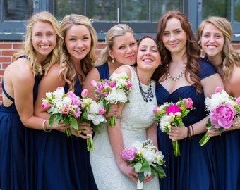 Blue Bridesmaid Dresses Infinity Wrap Style