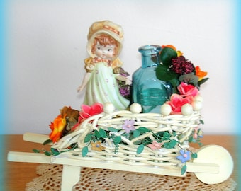 Girl in Flower Cart Figurine  Home Decor Handcrafted Centerpiece Table Decoration Gift Present Young Girl