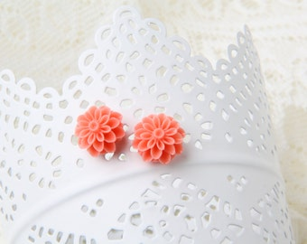 coral flower stud Earrings, Stud Earrings, coral earrings, coral post earrings, bridal party gift