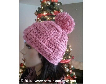INSTANT DOWNLOAD Weave Basket  Pom Pom Beanie - Crochet Pattern